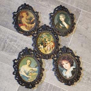 Set of 5 Vintage Italian SM Brass Frames